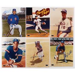 Lot of (6) Signed New York Mets 8x10 Photos with Wally Backman, Kevin Elster, Dwight Gooden, Darryl