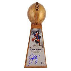 "John Elway Signed LE Denver Broncos 15"" Lombardi Football Championship Trophy (Beckett COA)"