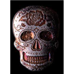 2 oz Silver Day of the Dead Sugar Skull Monarch Hand-Poured 3D .999 Fine Silver Bar - Rose
