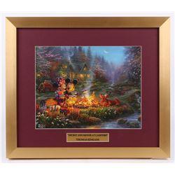 "Thomas Kinkade Walt Disney's ""Mickey  Minnie at Campfire"" 15.5x18 Custom Framed Print Display"