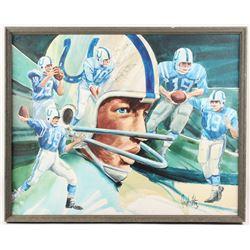 "Johnny Unitas Signed Baltimore Colts 25.25x31.25 Custom Framed Canvas Inscribed ""Best Wishes"" (JSA C"