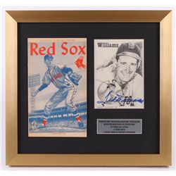 Ted Williams Signed Boston Red Sox 15.5x16.5 Custom Framed Print Display with Program (PSA LOA)