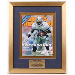 Emmitt Smith Signed 15x18.5 Custom Framed Sports Illustrated Magazine Display (Beckett COA)