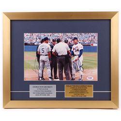 George Brett  Nolan Ryan Signed 15x18 Custom Framed Photo Display (PSA COA)