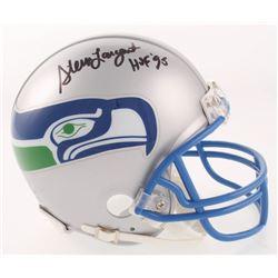 """Steve Largent Signed Seattle Seahawks Throwback Mini Helmet Inscribed """"HOF 95"""" (Beckett COA)"""