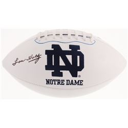 Lou Holtz Signed Notre Dame Fighting Irish Logo Football (Fanatics Hologram)