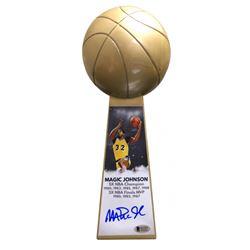 "Magic Johnson Signed Los Angeles Lakers 14"" Championship Basketball Trophy (Beckett COA)"