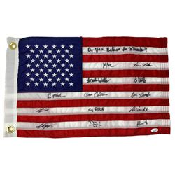 """1980 Team USA """"Miracle on Ice"""" American Flag Team-Signed by (13) with Mike Eruzione, Bill Baker, Dav"""