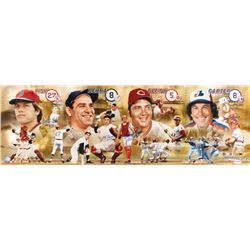 Hall of Fame Catchers 12x36 Photo Signed By (4) With Yogi Berra, Johnny Bench, Carlton Fisk,  Gary C