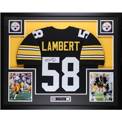 "Jack Lambert Signed 35x43 Custom Framed Jersey Display Inscribed ""HOF 90"" (JSA COA)"