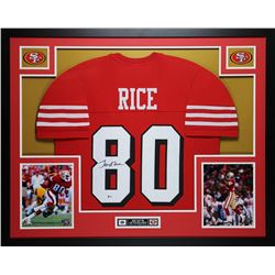 Jerry Rice Signed 35x43 Custom Framed Jersey (Beckett COA)