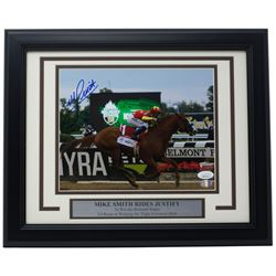 "Mike Smith Signed ""Belmont Stakes"" 8x10 Custom Framed Photo Display (Sports Integrity COA  JSA Holog"