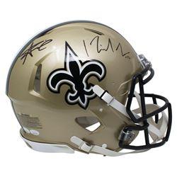Alvin Kamara  Michael Thomas Signed New Orleans Saints Full-Size Authentic On-Field Speed Helmet (JS
