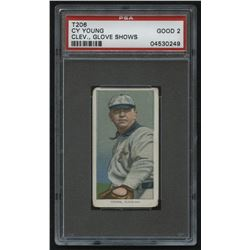 1910 T206 - Sovereign - Cleveland - Glove Shows #25 Cy Young (PSA 2)