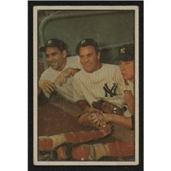 1953 Bowman Color #44 Yogi Berra / Hank Bauer / Mickey Mantle