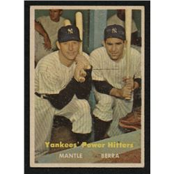 1957 Topps #407 Yankees Power Hitters / Mickey Mantle / Yogi Berra