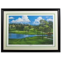 Byron Nelson Signed LE 29x38 Custom Framed Lithograph Display (PSA COA)
