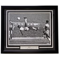 "Pele Signed Team Brazil ""Bicycle Kick"" 22x27 Custom Framed Photo Display (PSA COA)"