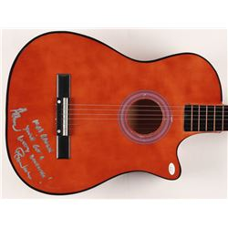 """Herman's Hermits Peter Noone Signed 38"""" Acoustic Guitar Inscribed """"Herman""""  """"Mrs. Brown You've Got a"""