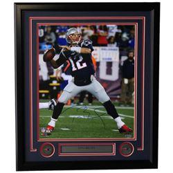 Tom Brady Signed New England Patriots 22x27 Custom Framed Photo (TriStar Hologram)
