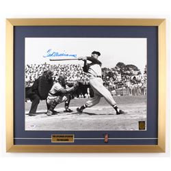 Ted Williams Signed Boston Red Sox 21x25 Custom Framed Photo Display with Red Sox Pin (PSA LOA  Ted