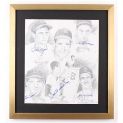 Boston Red Sox LE 21x23 Custom Framed Lithograph Display Signed by (5) with Ted Williams, Bobby Doer