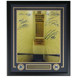 Notre Dame Fighting Irish 22x30 Custom Framed Photo Display Signed by (6) With Lou Holtz, Rickey Wat