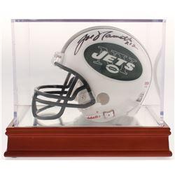 Joe Namath Signed New York Jets Mini-Helmet with Display Case (PSA COA)