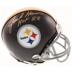 """Jack Ham Signed Pittsburgh Steelers Mini Helmet Inscribed """"HOF 88"""" (Schwartz COA)"""