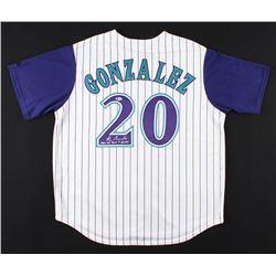 "Luis Gonzalez Signed Arizona Diamondbacks Jersey Inscribed ""2001 WS Game 7 GW Hit"" (Beckett COA)"