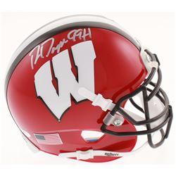 """Ron Dayne Signed Wisconsin Badgers Mini Helmet Inscribed """"99 H"""" (Schwartz COA)"""