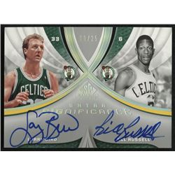 2005-06 SP Game Used SIGnificance Dual #RB Bill Russell / Larry Bird #08/25