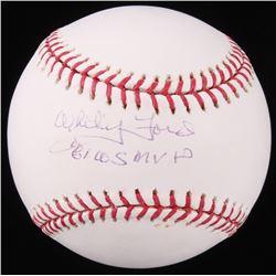 """Whitey Ford Signed OML Baseball Inscribed """"61 WS MVP"""" (MLB Hologram)"""
