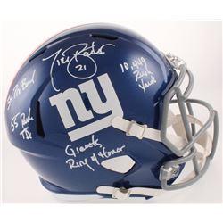 Tiki Barber Signed New York Giants Full-Size Speed Helmet with Multiple Career Stat Inscriptions (Be