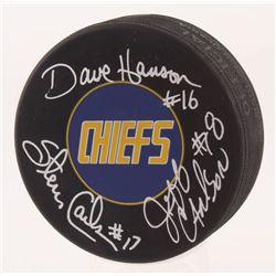 """Jeff Carlson, Steve Carlson  David Hanson Signed """"Slap Shot"""" Charlestown Chiefs Logo Hockey Puck (Sc"""