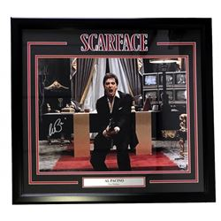 """Al Pacino Signed Scarface """"Say Hello To My Little Friend"""" 22x27 Custom Framed Photo Display (Beckett"""