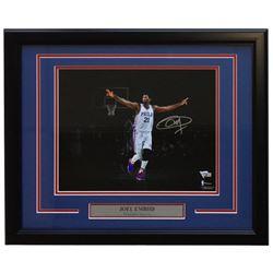 Joel Embiid Signed Philadelphia 76ers 16x20 Custom Framed Photo Display (Fanatics Hologram)