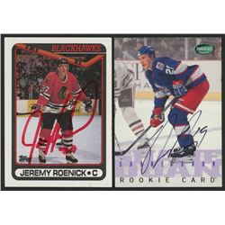Lot of (2) Signed Hockey Cards with Jeremy Roenick Signed 1990-91 Topps #7  Shane Doan Signed 1995-9