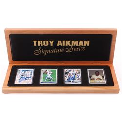 Lot of (4) Troy Aikman Limited Edition Porcelain Football Cards with (2) Signed  Display Case (UDA C