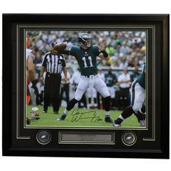 "Carson Wentz Signed Philadelphia Eagles 22x27 Custom Framed Photo Display Inscribed ""A01"" (JSA Holog"