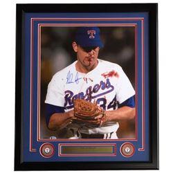 Nolan Ryan Signed Texas Rangers 22x27 Custom Framed Photo Display (Beckett COA  Ryan Hologram)
