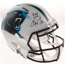 """Christian McCaffrey Signed Carolina Panthers Full-Size Authentic On-Field Speed Helmet Inscribed """"Ru"""