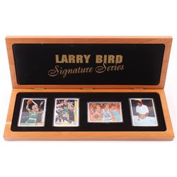 Lot of (4) Larry Bird Limited Edition Porcelain Basketball Cards with (1) Signed  Display Case (UDA