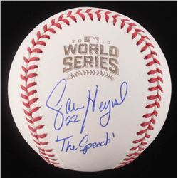 "Jason Heyward Signed 2016 World Series Logo Baseball Inscribed ""The Speech"" (Schwartz COA)"