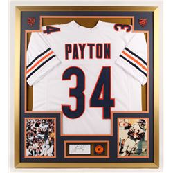 Walter Payton Signed 32x36 Custom Framed Index Card Display with Jersey (PSA)