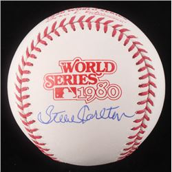Steve Carlton Signed 1980 World Series Logo Baseball (Schwartz COA)