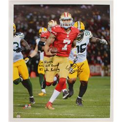 "Colin Kaepernick Signed LE San Francisco 49ers 25.75x29.5 Photo On Canvas Inscribed ""Go Niners""  ""NF"