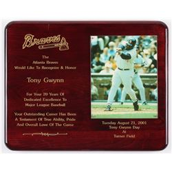 Tony Gwynn San Deigo Padres 12x15 Braves Recognition Plaque
