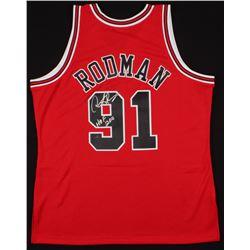 """Dennis Rodman Signed Chicago Bulls Jersey Inscribed """"HOF 2011"""" (Schwartz COA)"""