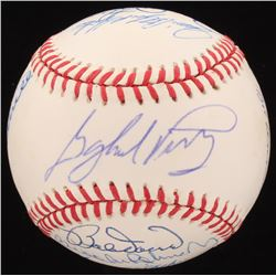 """MLB Hall of Famers OAL Baseball Signed by (13) with Jim """"Catfish"""" Hunter, Bob Gibson, Brooks Robinso"""